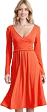 CLOVERY Women's Slimming Long Sleeve Fit-and-Flare Crossover Tummy Control Midi Dress Plus Size