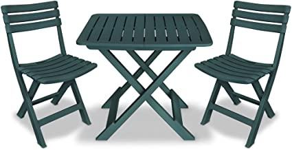 vidaXL 3 Piece Folding Bistro Set Plastic Weather Resistant Slatted Design 2 Chairs and 1 Table Outdoor Lounge Seat Patio ...