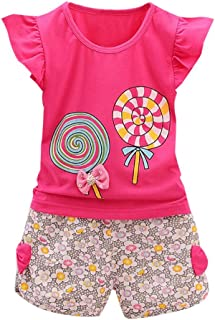 Toddler Baby Girls Lolly Sets, 2PCS Kids Outfits Lollipop Fluttering Sleeve T-Shirt Shorts Clothes Set