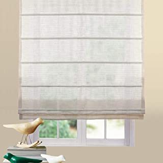 Artdix Roman Shades Blinds Window Shades - Light Brown 49.5 W x 48L Inches (1 Piece) Linen Sheer Solid Fabric Custom Made Roman Shades for Windows, Doors, Home, Kitchen, Living Room