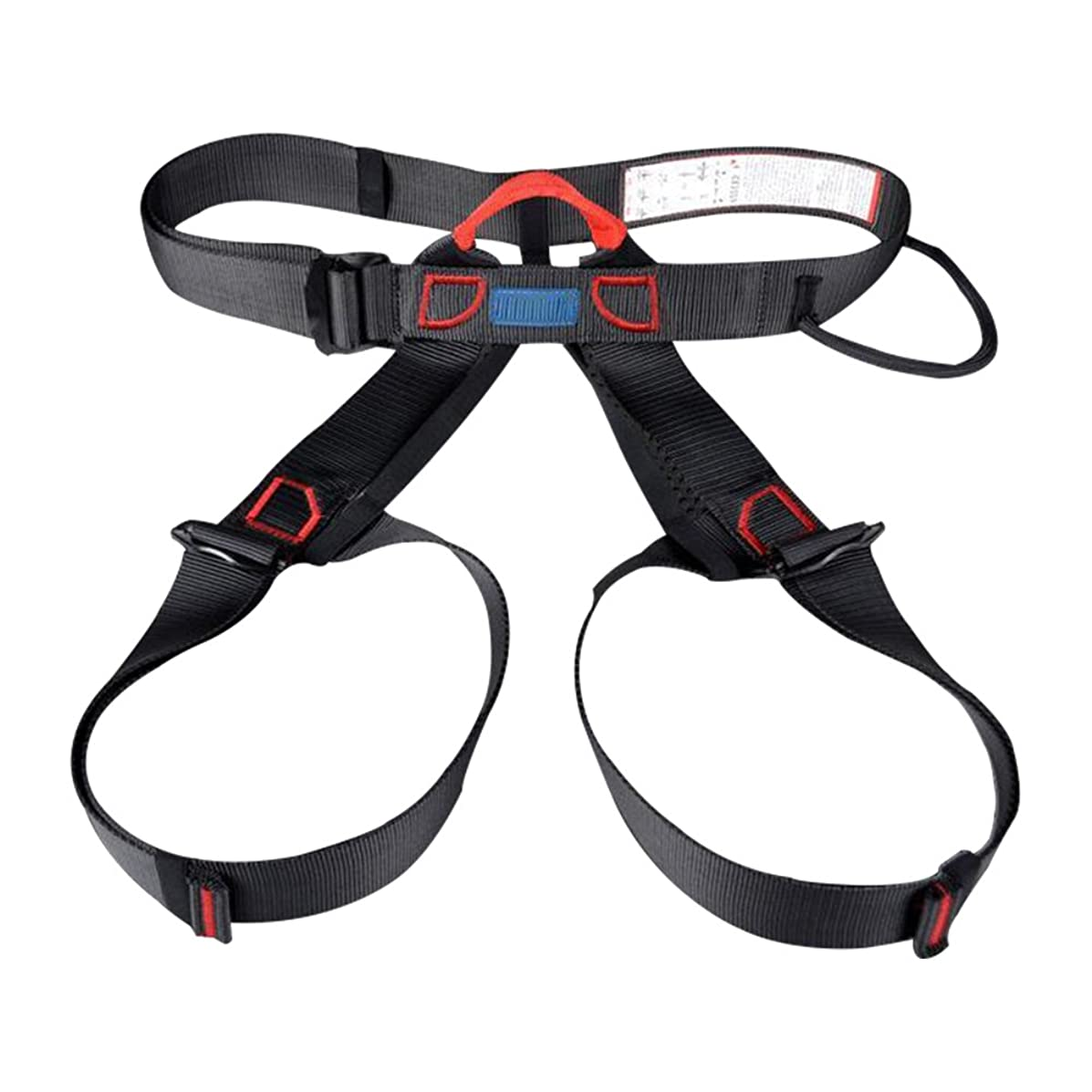Thicken Wider Climbing Harness- Treestand Harness For Mountaineering Fire Rescue Working On The Higher Caving Rock Outward Band Expanding Training Climbing Rappelling Equip (Black, Half Body Harness)