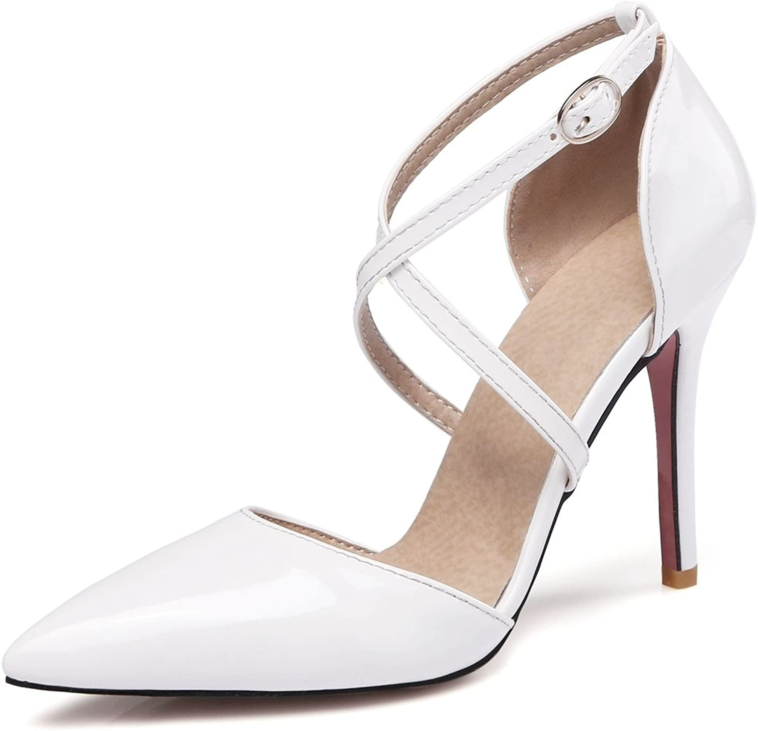 Kaloosh Women's Beautiful Patent Leather Pointed Toe Cross Strap Thin High Heel Party Night Pumps