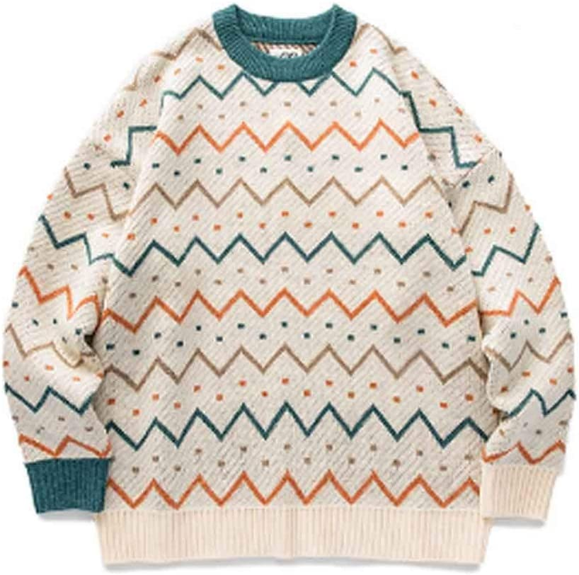 ZYING Youth Men Striped Vintage Winter Sweaters Pullover Oversize Korean Fashions Sweater Women Casual Vintage Clothes (Color : B, Size : XL Code)