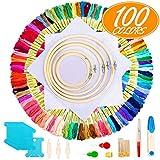 Kit Broderie Point Croix , Aimego 100 Fil Multicolores 5 Tambour à Broder 2 Tissu Brodé avec les Autres...