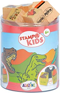 Aladine - Stampo Kids Dinosaurs - Children's Stamps - Children's Toys and Creative Games for Children - Box of 15 Wooden S...
