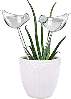 Plant Waterer Self Watering Globes, Hand Blown Clear Glass Plant Water Bulbs for Indoor and Outdoor, 2 Birds