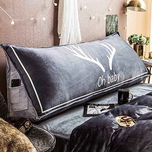 QQDJ Triangle European Bed Pillow,Bed Head Soft Bag Double Cushion,Tatami Sofa Living Room Pillow Large Backrest A 150x28x50cm(59x11x20inch)