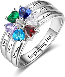 Family Jewelry Mother Rings with 6 Children Simulated Birthstones Promise Ring for Her Personalized Rings for Women