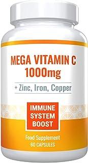 Mega Vitamin C 1000mg Plus Zinc, Iron and Copper. Powerful Immune System Boost. Sugar-Free, Gluten-Free. 60 Capsules - 1 M...