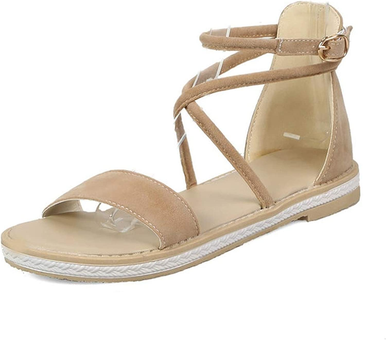 Women Sandals Low Heel Women shoes Buckle Platform Round Toe Western Style Sandals 34-43