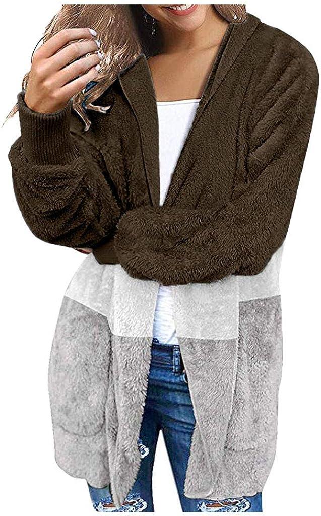 VRTUR Strickjacke Übergroß Damen Plüsch Übergangsjacke Outwear Mantel Herbst Winter Plüschjacke mit Kapuze und Tasche Cardigan Jacke C-braun