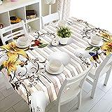 Mantel Floral Tallado en 3D, Mantel Rectangular Impermeable, Apto para cafeterías, cocinas, Bodas M-2 140x210cm