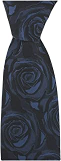 David Van Hagen Mens Wedding Rose Silk Tie - Navy