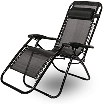 LYZZDY Yxsd Leisure Zone Heavy Duty Textoline Zero Gravity Chairs Garden Outdoor Patio Sunloungers Folding Reclining Chairs Lounger Deck Chairs (Color : Black, Size : Double)
