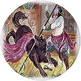 W-WEE Runder Teppich-Matten-Teppich, Japaner, tapferer Samurai mit Seiner Lanze, die gegen das Wilde Schlachtthema des schwarzen Dämonenwolfs kämpft, schwarzer Gelbraum