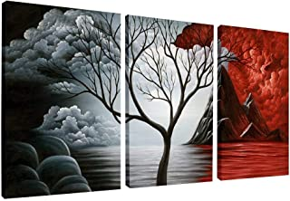 Wieco Art The Cloud Tree Wall Art Oil PaintingS Giclee Landscape Canvas Prints for Home Decorations, 3 Panels (Renewed)