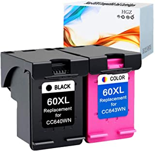 HGZ 2 Pack Compatible Ink Cartridge Replacement for HP 60XL 60XL Use in Envy 100 120 DeskJet F4280 F4480 F4580 F2480 D1660 D2660 F2400 F2420 PhotoSmart C4780 C4680 Printer (1 Black, 1 Tri-Color)