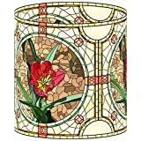 LampPix 10.00 Inch Table Lamp Shade - Red Flower Desk Lamp Canvas Desk Lampshade (Spider Fitting)