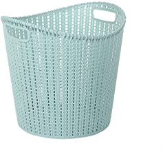 Storage Basket Dirty Clothes Bin Medium Plastic Bathroom Storage Variety (Color : Blue Green)