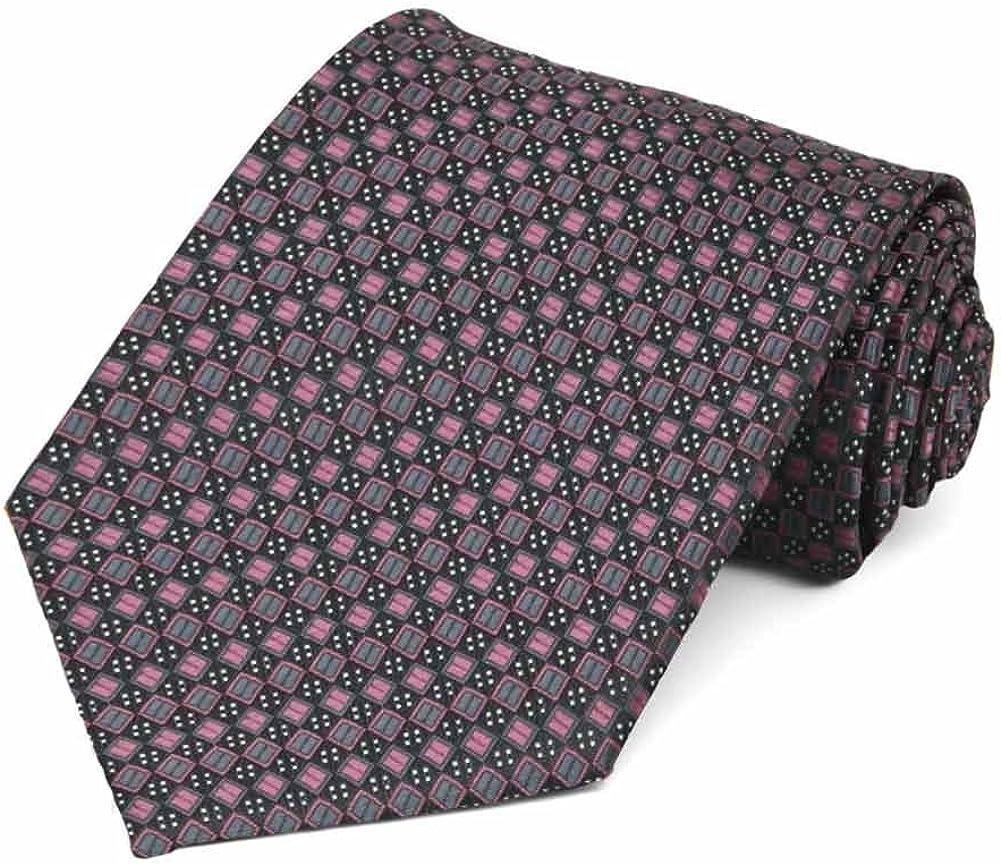 TieMart Dark Pink Marie Square Pattern Necktie