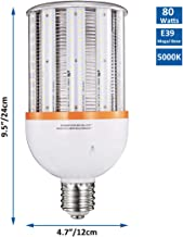 80W LED Corn Light Bulb, Large Mogul Base E39 LED Bulbs, 10800 Lumens (400W-600W Equivalent), 5000K Daylight, AC100-277V, RUIXU Metal Halide Replacement for Outdoor Indoor Area Lighting HID/CFL/HPS