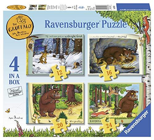 Ravensburger 6916 Grüffelo – 4 in Box (12, 16, 20, 24 Teile) Puzzle für Kinder ab 3 Jahren, 0