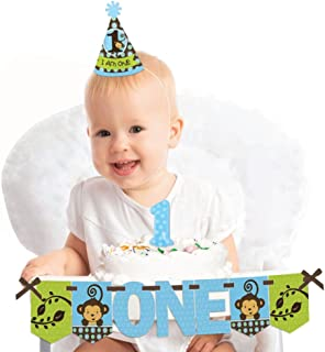 Big Dot of Happiness Blue Monkey Boy 1st Birthday - First Birthday Boy Smash Cake Decorating Kit - High Chair Decorations