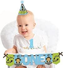 Big Dot of Happiness Blue Monkey Boy 1st Birthday - First Birthday Boy Smash Cake Decorating Kit - High Chair Decorations