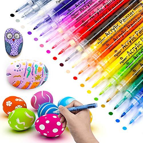 AceList Rotuladores De Pintura Acrílica, 18 Colores de Rotuladores Acrílica Para Piedras, Madera, Porcelana, Tela,Huevo de Pascua,Cristal ,Regalo Perfecto(0.7mm)