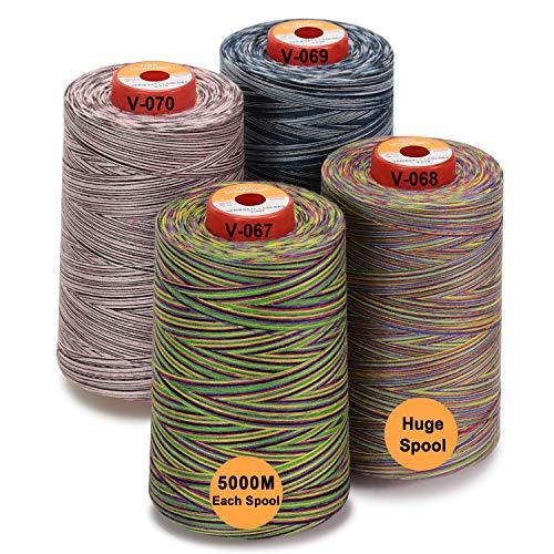 New brothread - 28 Optionen - 4 Große Konen 5000M Allzweck Polyester Nähgarn 40S/2 (Tex27) zum Nähen, Quilten, Patchwork, Serger und Overlock - Variegated Colours