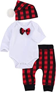 3PCS Newborn Baby Boy Girl Christmas Pajamas Solid Color Bowtie Long Sleeve Romper Top+Plaid Pants+Hat Clothes Outfit