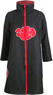 D.F.L Trajes de Akatsuki Cosplay Capa larga cosplay de los Akatsukis Itachi Vestido Akatsuki - Cinta de Cabeza Venda para Cosplay Itachi Uchiha (M)