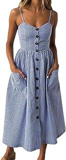 b18e992f12598d Ansenesna Kleid Damen Sommer Vintage Blau Weiß Gestreift Elegant Partykleid  Mädchen Lang Träger V Ausschnitt Sommerkleid