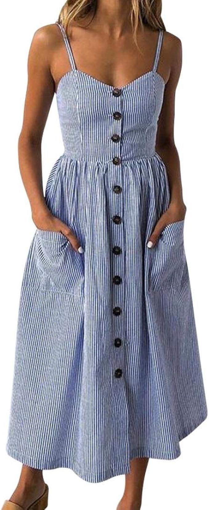Ansenesna Kleid Damen Sommer Vintage Blau Weiss Gestreift Elegant Partykleid Madchen Lang Trager V Ausschnitt Sommerkleid Amazon De Bekleidung