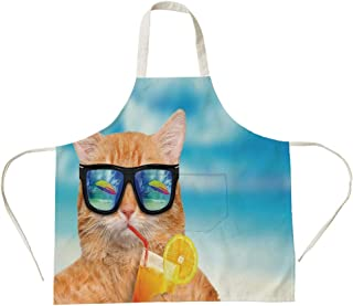 3D Printed Cotton Linen Big Pocket Apron,Funny,Cat Wearing Sunglasses Relaxing Cocktail in The Sea Background Summer Kitty Image,Blue Ginger,for Cooking Baking Gardening