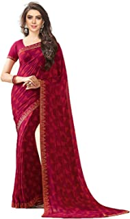 RAJESHWAR FASHION WITH RF Women's Georgette Saree With Blouse Piece (A20 PINK NEW SAREES_Pink)