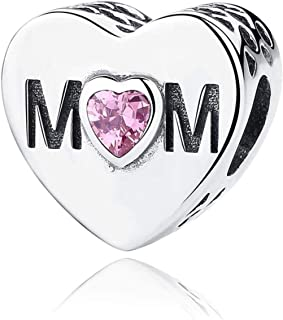 "NINGAN ""I Love Mother(Io Amo Mamma) Charm in Argento Sterling 925, Compatibile con bracciali Europei Compatibile con Bracc..."