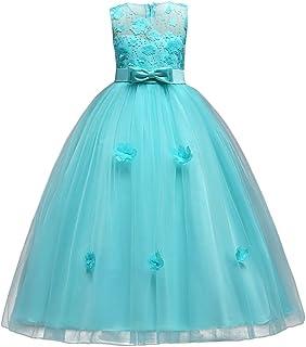 IBTOM CASTLE Little Big Girls'Tulle Retro Vintage Dresses Flower Lace Pageant Party Wedding Floor Length Dance Evening Gown