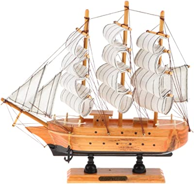 Fenteer 100 Handmade Wooden Middle Ages Three Masted Sailboat Model Toy Home Decor Collectible