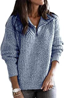 Macondoo Women 1/4 Zip-Up Knitted Winter Ribbed Pullover Jumper Sweaters