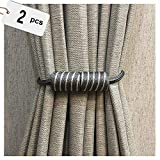 2 Pack Magnetic Curtain Tiebacks Home Curtain Buckle Strong Magnetic Curtain Buckle Curtain Clips Rope Straps Decorative Holdback Holders For Window Sheer And Blackout Panels ( Color : Dark gray )