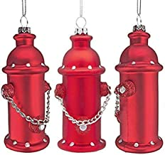 Design Toscano Fire Hydrant Blown Glass Holiday Ornament, 5 Inch, Set of 3, red