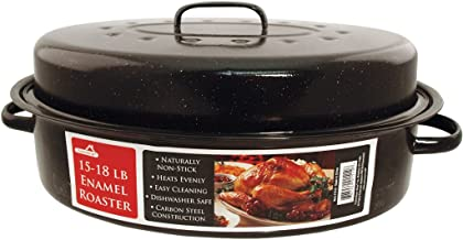 Euro-Ware 1512 Oval Carbon Steel Non-Stick Enamel Roaster with Cover, Large/15-18 lb, Black
