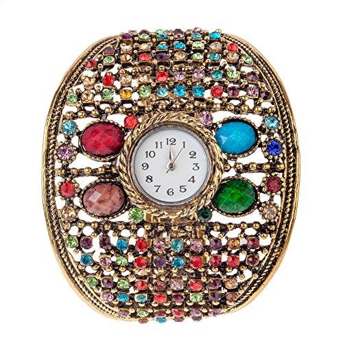 Espléndido diseño en relieve de Metal de oro de la máxima calidad de la muñeca reloj de pulsera de cuarzo pulsera de las señoras en el estilo bohemio adornados con diamantes de imitación de/en los cristales de los muchos colores diferentes por eliminar archivos del registro