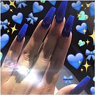 Drecode 24Pcs Punk Fake Nails Coffin Nails Fashion Party Full Cover False Nails for Women and Girls (Blue)