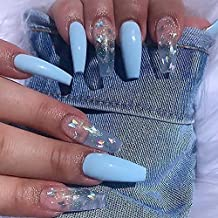 24 Pcs Coffin Press on Nails Long, Sunjasmine Fake Nails Glue on Nails, Glossy False Nails with Glue, Acrylic Nails for Women and Girls (Blue Mixed Butterfly)