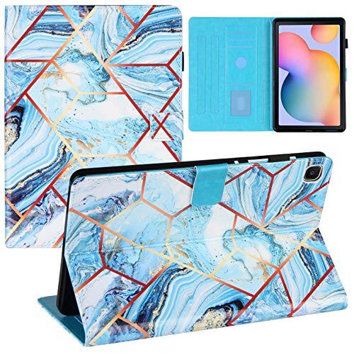 Shinyzone Coque pour Samsung Galaxy Tab S6 Lite P610/P615 avec Porte-Crayon,Étui Housse en Cuir PU Portefeuille Rabat Smart avec Support de Multi-Angle,Fonction Sommeil/Réveil,Bleu