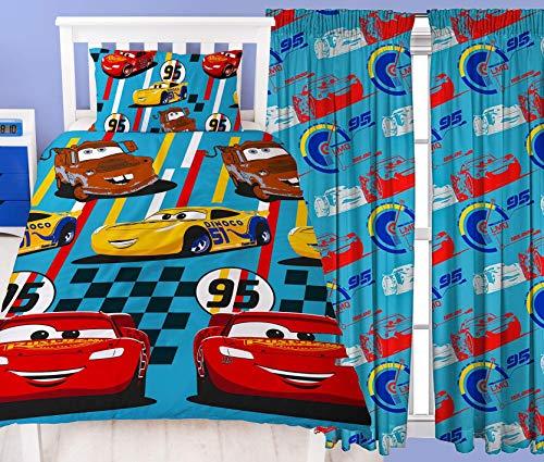 """Disney Cars Dinoco Juego de cama individual y cortinas a juego - Rayo Mcqueen, Mater & Cruz Ramirez Coches Dinoco Single Duvet & 54"""" Drop Curtains"""
