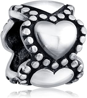 Valentine Lovers Eternity Hearts Spacer Bead Charm For Girlfriend Women For Teen .925 Sterling Silver Fits European Bracelet