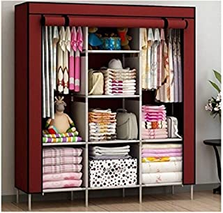 BDMP Collapsible Clothes Storage Wardrobe Cupboard Closet with Shelves Organizer Hanging Rail Rack Foldable Portable Canva...